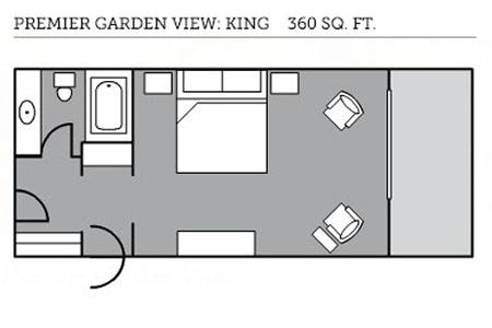 Garden View king room floor plan