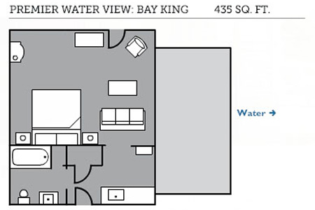 Premier water view: bay king floor plan