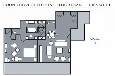 Round Cove Suite king room floor plan