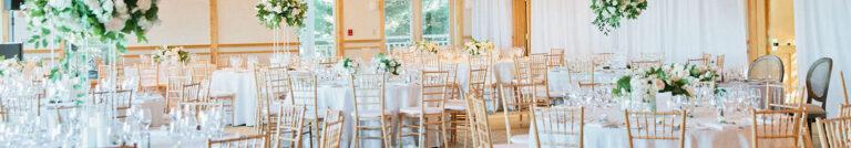 Elegant banquet tables at Cape Cod wedding venue