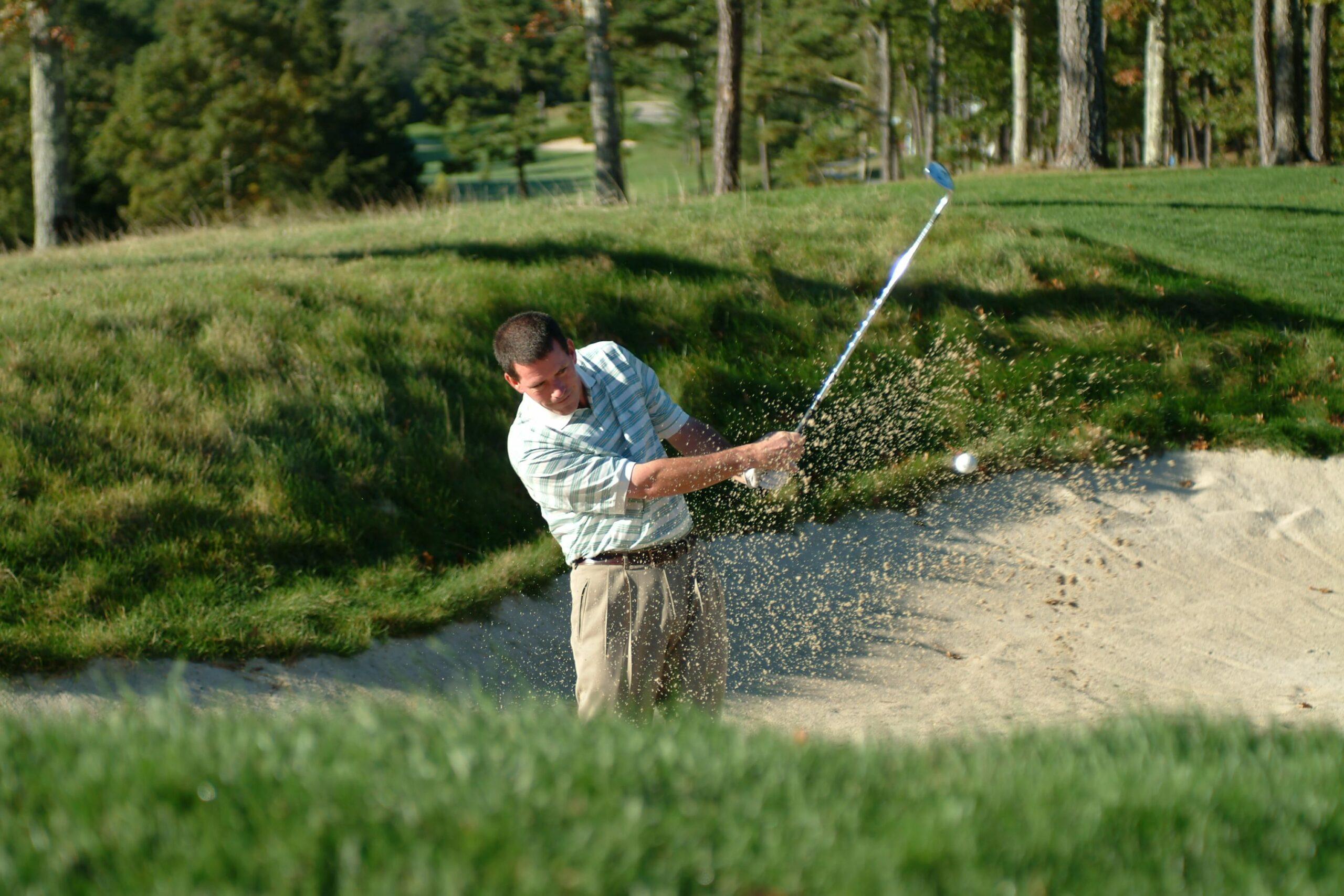 Jim Campbell sand trap action shot