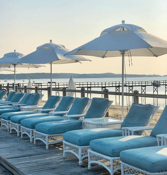 Lounge chairs on Wequassett resort deck