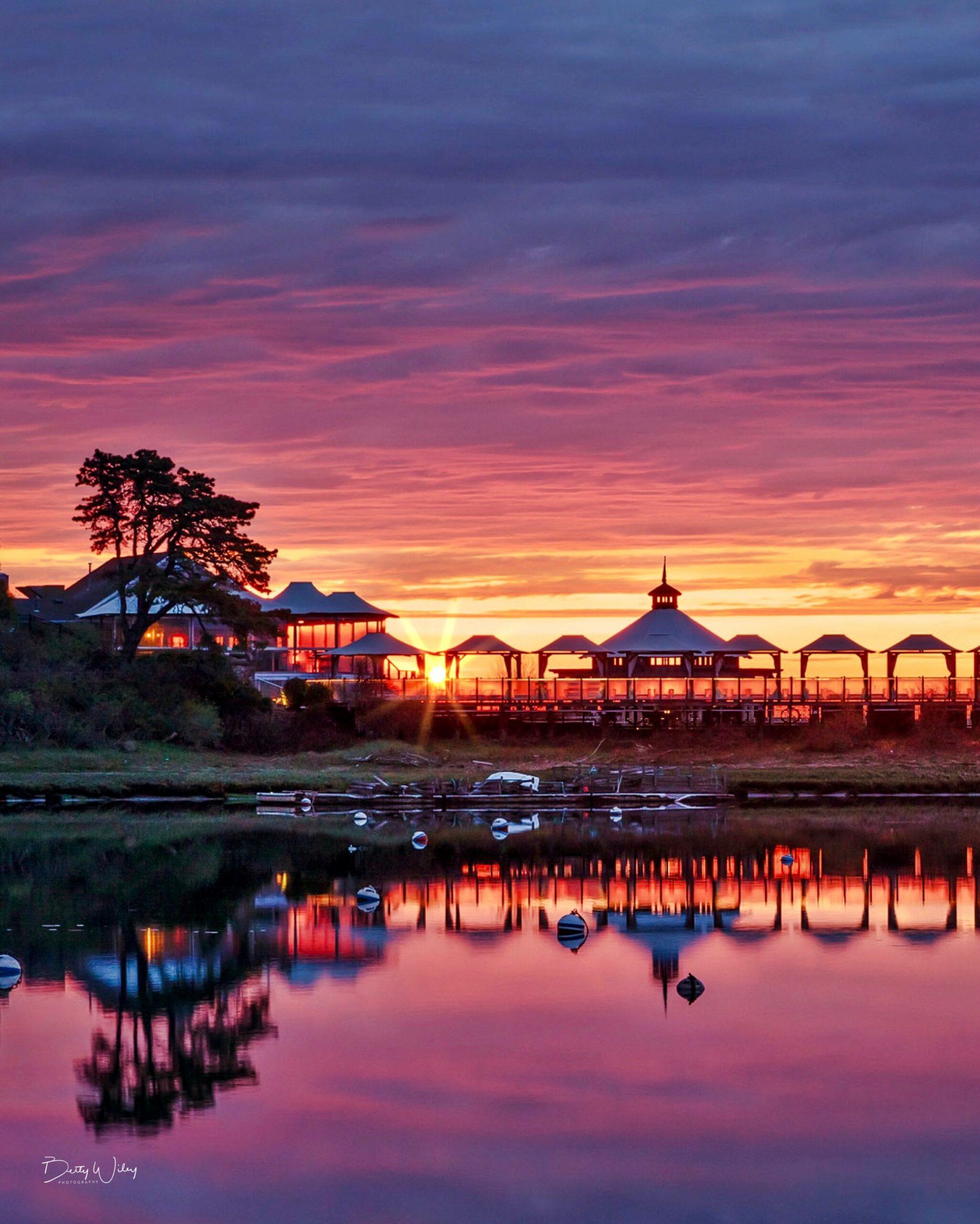 Wequassett resort bungalow view at sunset