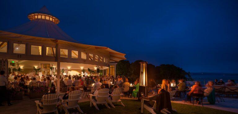 Wequassett terrace at night